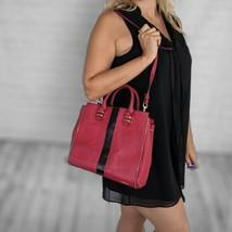 Rebecca Minkoff | Deep Red Leather Black Stripe Zipper Shoulder Handbag - $94.04