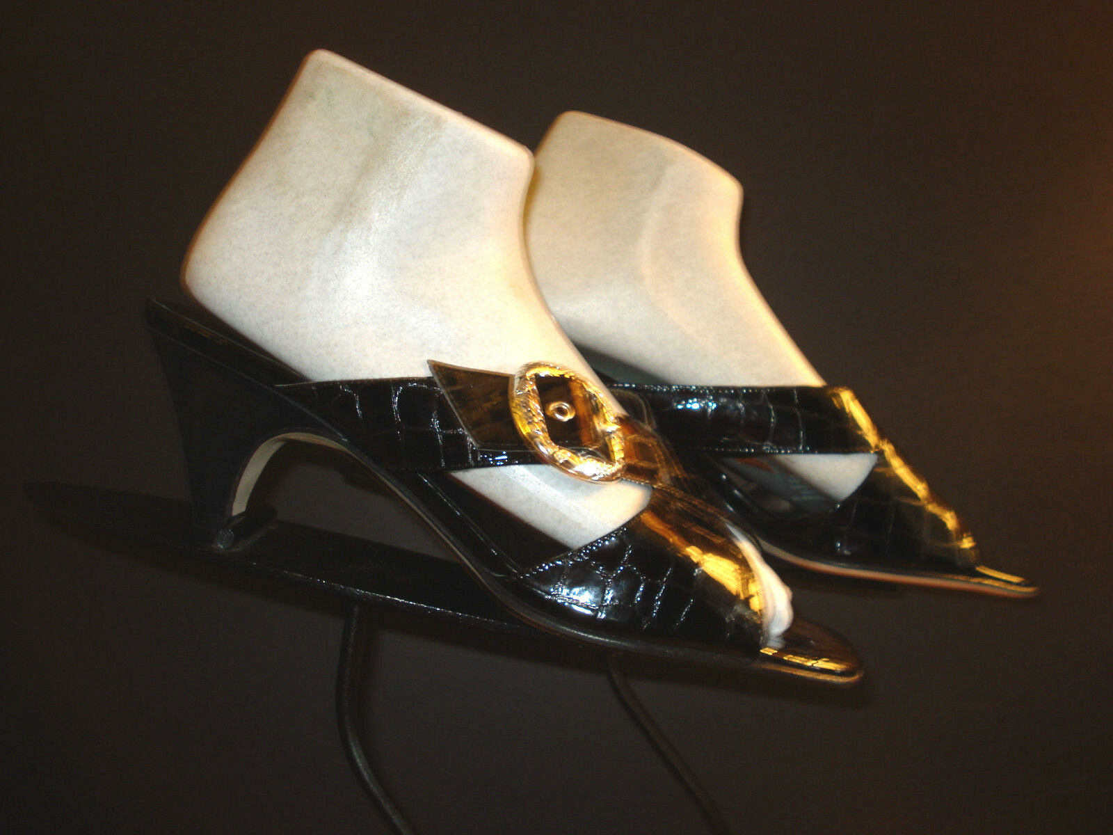 "Primary image for Brighton Italy ""Trendy"" Black Faux-Croc Patent Leather Kitten Heel Slide Sz. 9M"