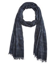 John Varvatos Star USA Men's Scarf Abstract Plaid Fringe Navy Italy $98 ... - £38.85 GBP