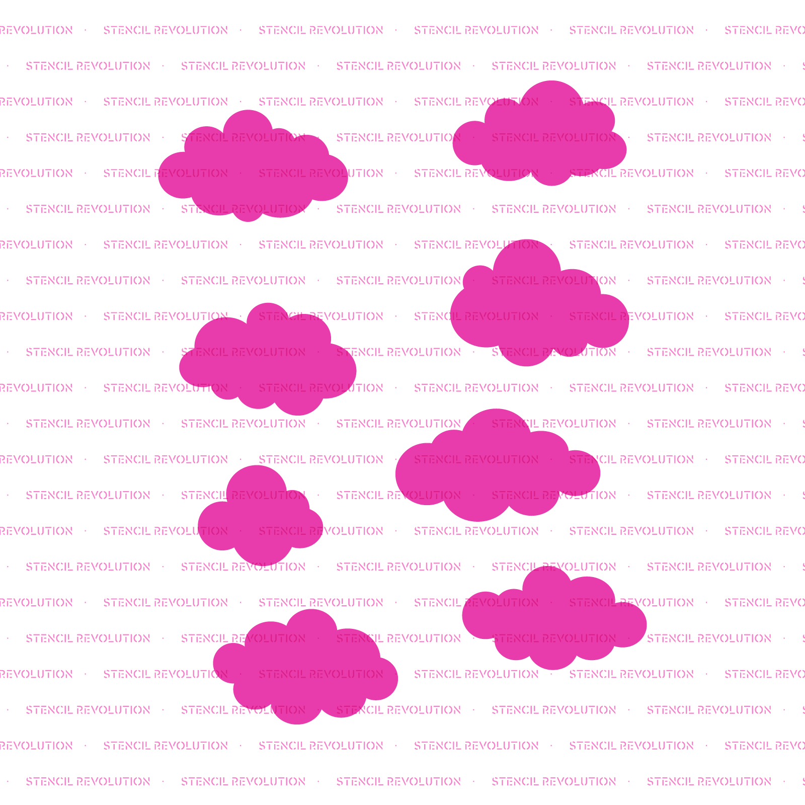 Clouds Stencil - Reusable Stencils of Clouds in Multiple Sizes