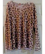 Before + Again  Leopard Print Top Sz. XL USA Shirt Whimsy Rose - $9.89