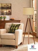 Lighting Tripod Light Floor Lamp, Walnut Finish with Beige Fabric Shade - $197.01