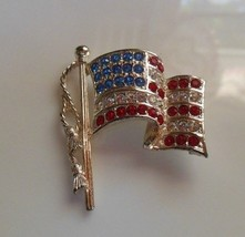 Vintage Signed Napier Red, White & Blue Rhinestone American Flag Brooch  - $18.80