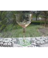 Elegant Pink & Green Depression Glass Cut Cocktail Stem - $16.00
