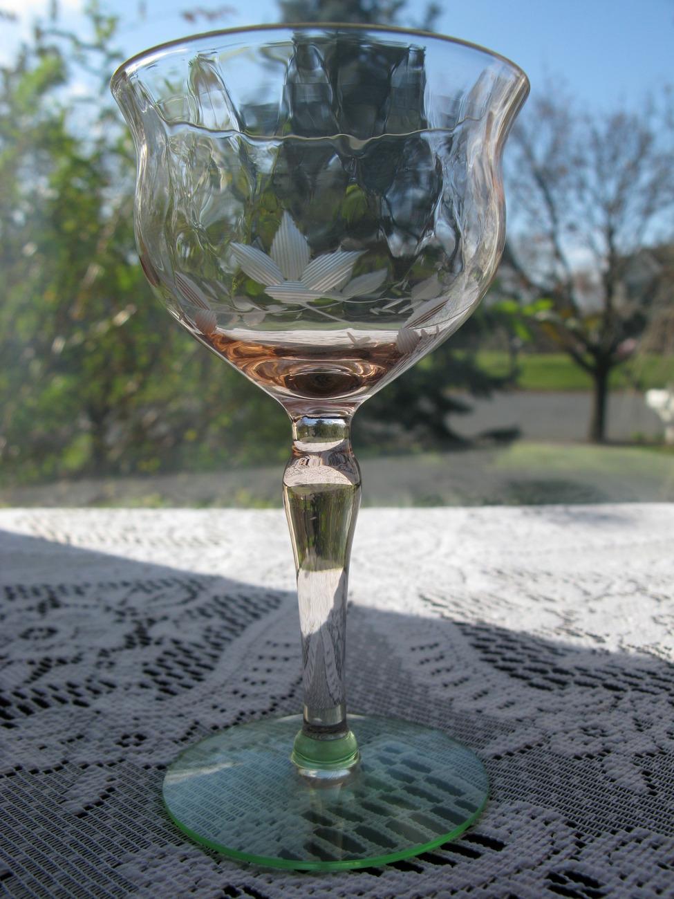 Elegant Pink & Green Depression Glass Cut Cocktail Stem