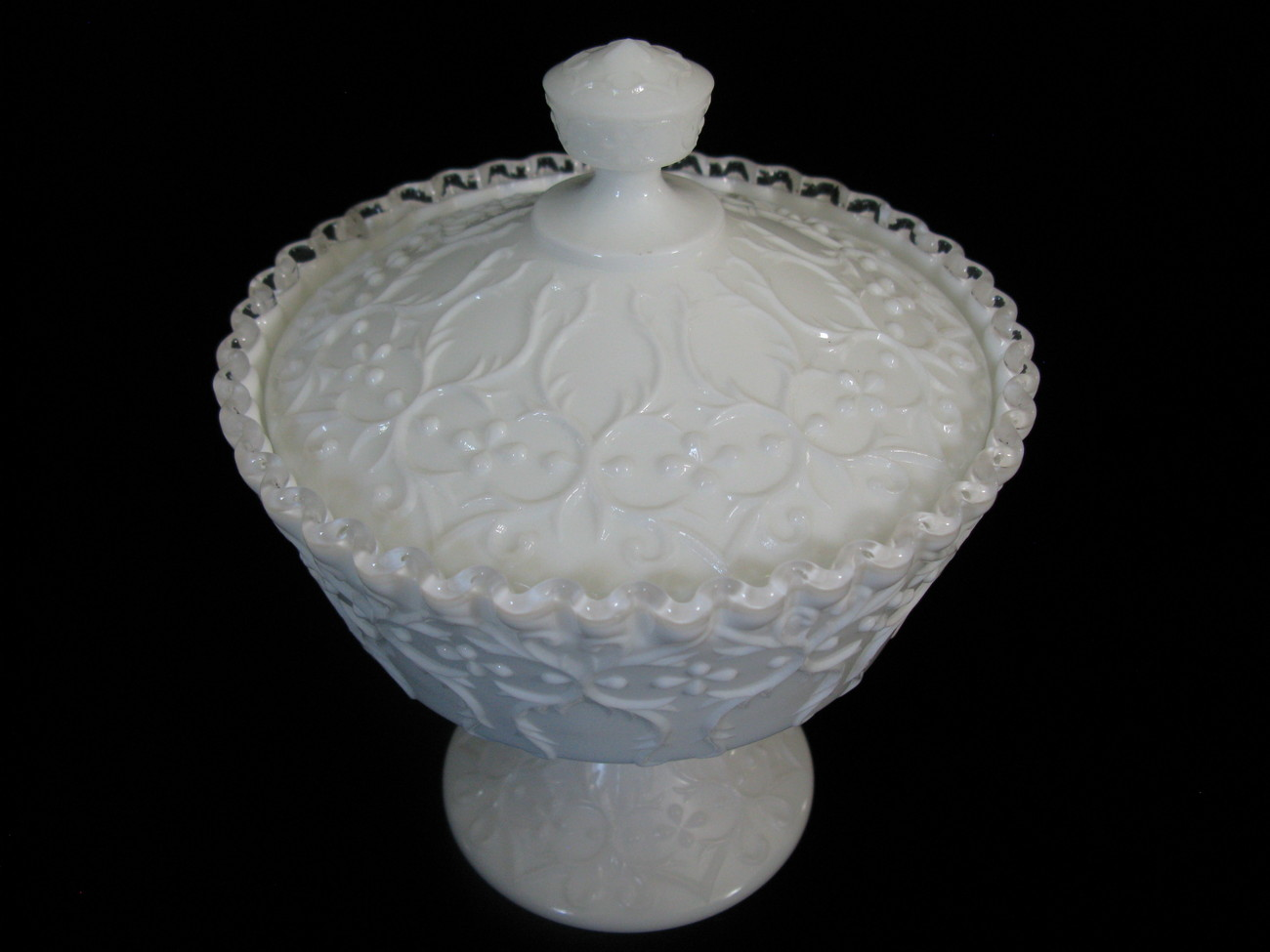 Fenton Spanish Lace Silver Crest Covered Candy Box