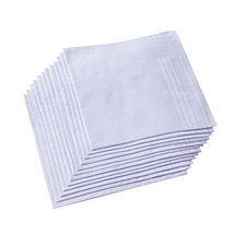 Men's Pure White 100% Cotton Handkerchief Pack of 6 … image 2