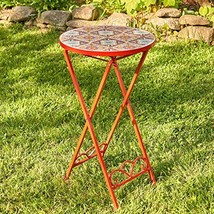Zaer Ltd. Mosaic Tile Furniture (Small Accent Table, Tokyo Red) - $89.95