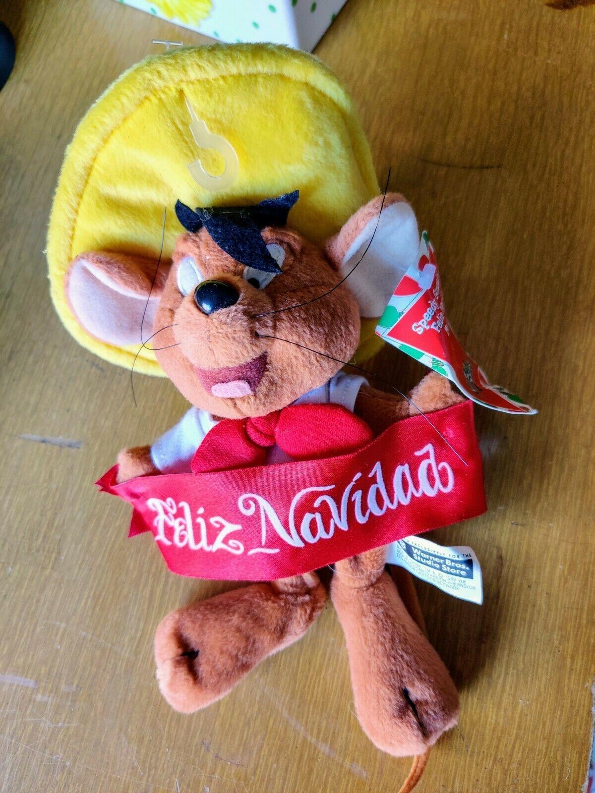 1999 Warner Bros Holiday FELIZ NAVIDAD SPEEDY GONZALES Bean bag Plush stuff toy - $11.43