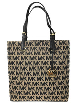 Michael Kors Jet Set Signature Jacquard North South Tote in Beige, Black... - $129.95