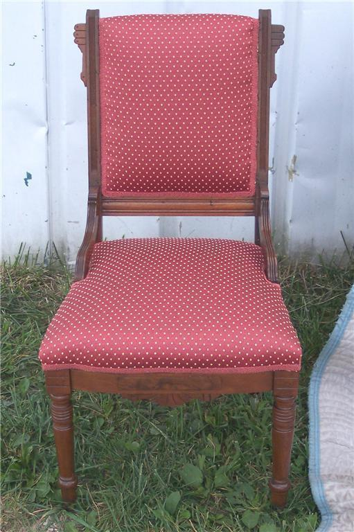 Primary image for Walnut Eastlake Sidechair/Parlor Chair-persimmon print