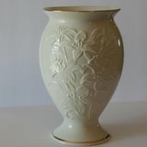 Porcelain Lenox Ivory Tiger Lily Vase with Gold Trim - $28.04