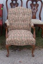 Walnut French Armchair/Parlor Chair-abstract print - $385.68