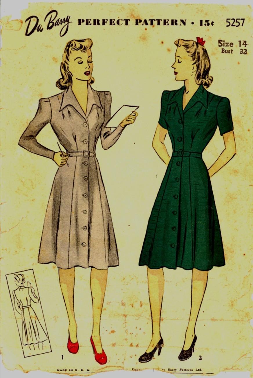 Auction 1219 d 5257 green dress 14 1942 43 unp