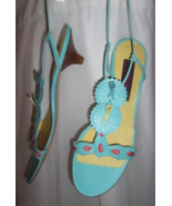 New KENZO Tiffany Blue Laser Cut Lace-Up Shoes Retail $485 Sz 37 ITALY F... - $79.95