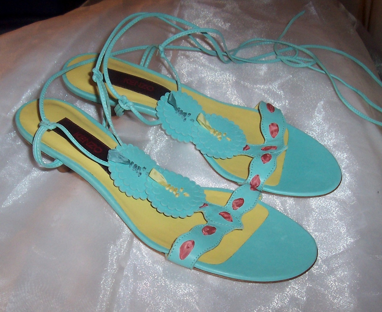 New KENZO Tiffany Blue Laser Cut Lace-Up Shoes Retail $485 Sz 37 ITALY Festival