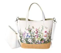 Women's Two Tone Wicker Floral Pattern Handbag Vegan Leather 2 in 1 Tote Purse image 2