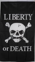 "LIBERTY or DEATH FLAG 36""x60"", Banner poster flag, skull flag, pirate flag  - $19.99"