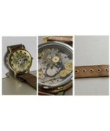 Steampunk Rustic Themed Binotis Skeleton Watch Hand Made Wrist Quartz Un... - $74.25