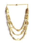 REAL COCONUT SHELL NECKLACE,TRIPLE STRINGS NATURAL CREAM HALF MOONS WITH... - $10.71