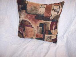 Tan/Burgundy Abstract Print Pillow 16 x 16 - $13.26