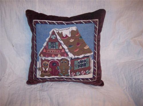 Primary image for Gingerbread Cookie Print Pillow-Burgundy Back 16 x 16
