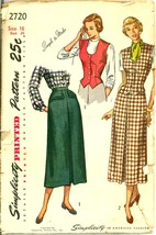 1940s Size 16 Bust 34 Easy Skirt Dart Fitted Weskit Vest Simplicity 2720... - $12.99