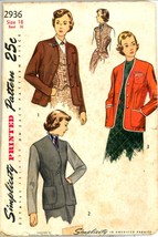 Uncut 1940s Size 18 Bust 36 Jacket Dart Fitted Weskit Simplicity 2936 Pa... - $12.99
