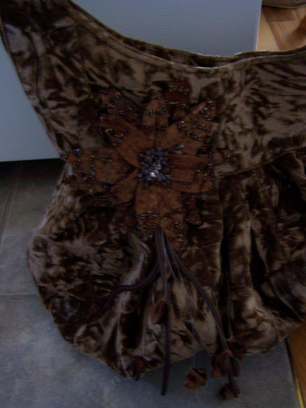 Beautiful Handbag Brown with Flower