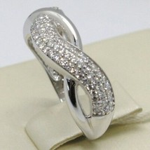 SOLID 18K WHITE GOLD BAND ZIRCONIA RING, ONDULATE, TWISTED, BRAID, MADE IN ITALY image 1