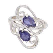 Nice Gemstone  Pear Faceted Iolite ring - Solid Silver Blue Iolite Nice ... - $12.05