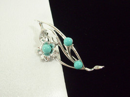 Vintage Sarah Coventry Blue Note Brooch Pin Turquoise Flowers Silver Pla... - $13.81