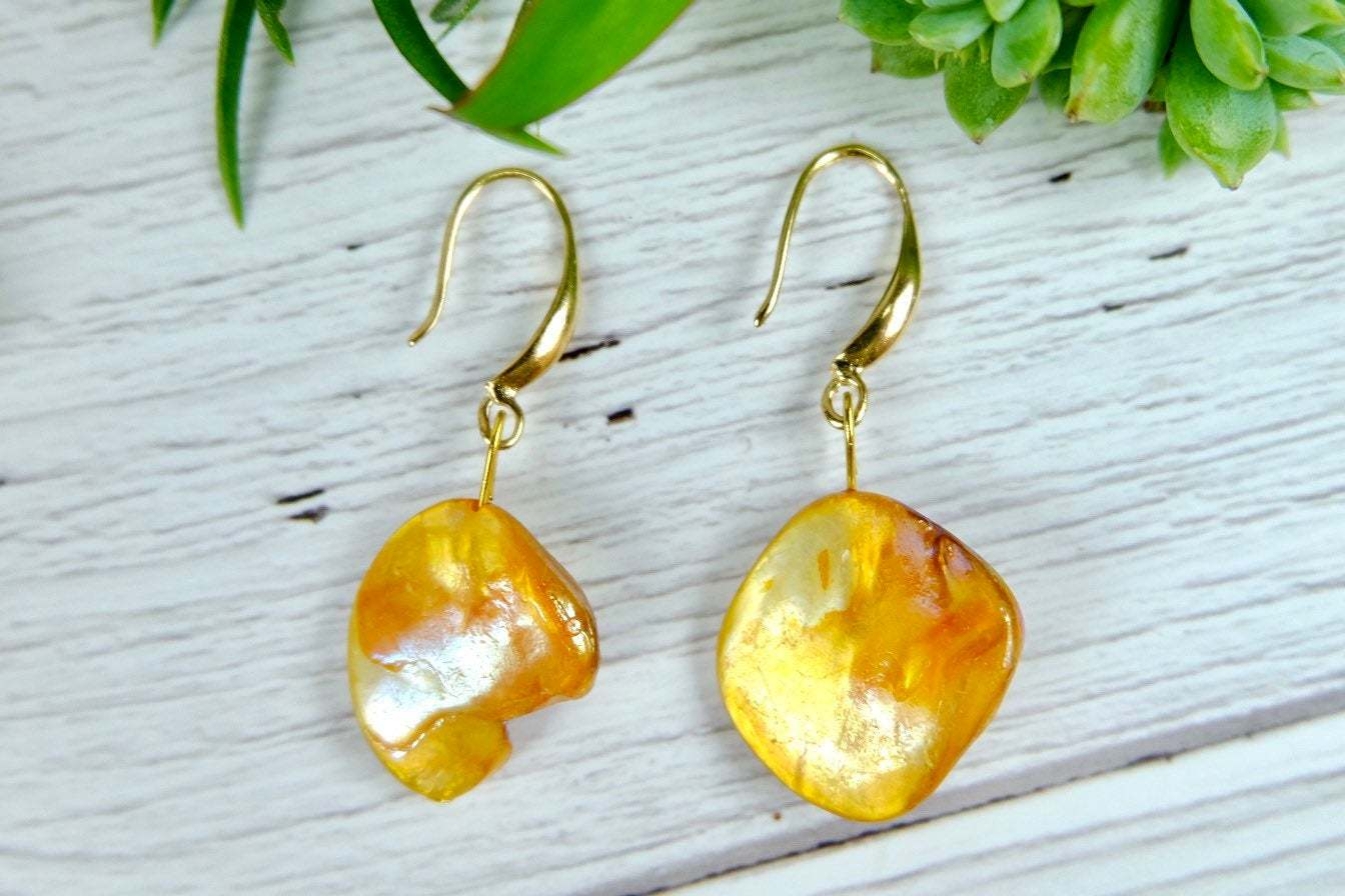 Golden Brown Abalone Shell Drop Earrings,  Modern Natural Sea shell Jewelry image 2