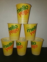 Vintage Lot of 6 Mello Yello Enjoy Sample 4 oz Waxed Soda Cups Coca Cola Co New - $15.99