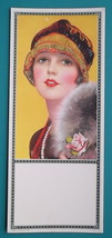 PINUP GIRL Blue Eyes Red Lips Fancy Hat & Rose - Est 1920s INK BLOTTER - $8.55