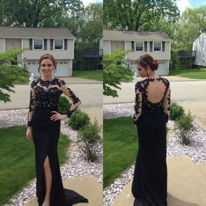 black prom dress,Prom Dress,long sleeves prom dress,side slit evening dresses