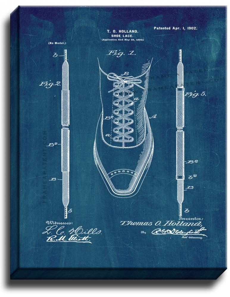 Primary image for Shoe-lace Patent Print Midnight Blue on Canvas