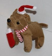 "Oriental Trading Christmas Shar Pei DOG 7"" Brown Plush Santa Hat Soft To... - $12.57"