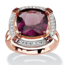.22 TCW Simulated Amethyst Rose Gold over .925 Silver Ring - $23.75