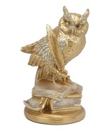 Golden Glitter Owl Of Bibliography Figurine Wisdom Of The Woods Wise Owl... - $26.99