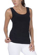 Black Double-Scoop Side-Rouched Tank by Last Tango - NOW EXTRA 10% OFF! - $26.90