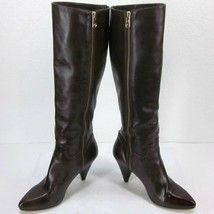 """Mk Michael Kors Brown Knee High Inside Zip Boots Women's 6.5M Us 3"""" Heel Burnish - $71.49"""