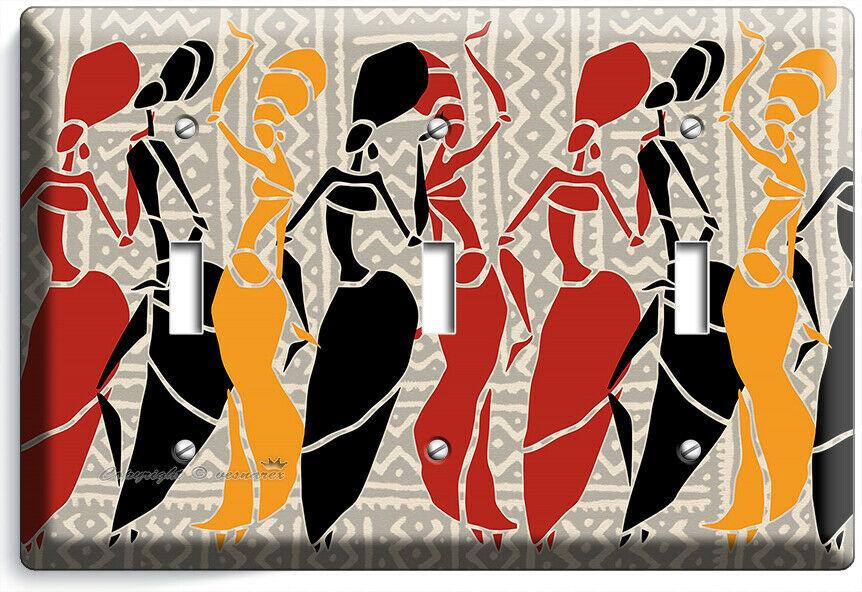 AFRICAN WOMEN TRIBAL DANCE 3 GANG LIGHT SWITCH WALL PLATE BEDROOM ROOM ART DECOR