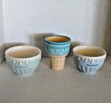 Ice Cream Bowls and Cup Cone Casa Lorren Ceramic Pastel Painted White Bl... - $14.95