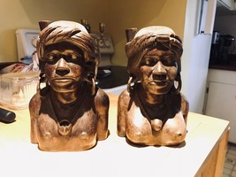 Vintage Igorot Tribe Bust Carvings  - $60.00