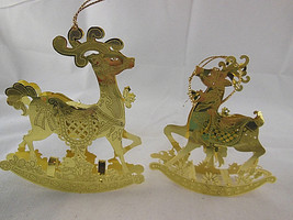"Gold plated Brass Christmas Ornaments Filigree 4-4.25"" Reindeer Vintage ... - $18.01"