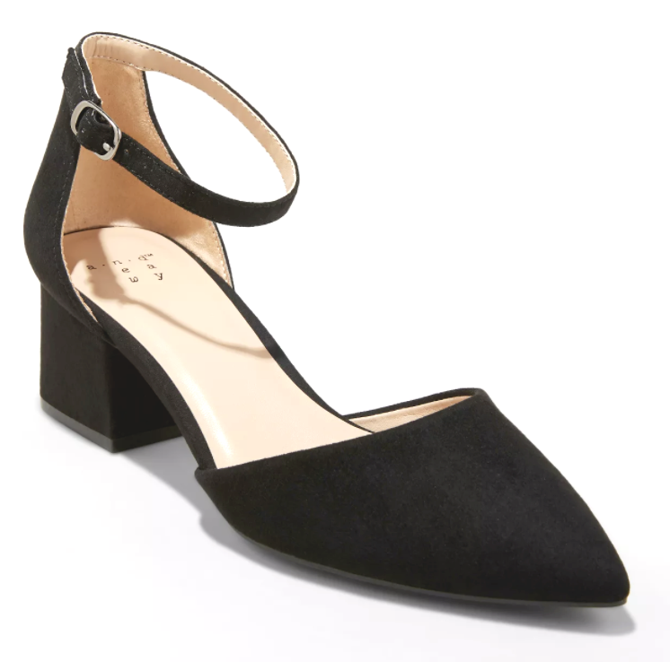A New Day Women's Natalia Black Microsuede Pointed Toe Block Heeled Pumps
