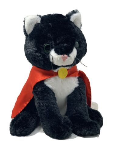 "Primary image for Unipak Plush Black Cat in Red Cape Green Glitter Eyes 11"" Stuffed Superhero Toy"