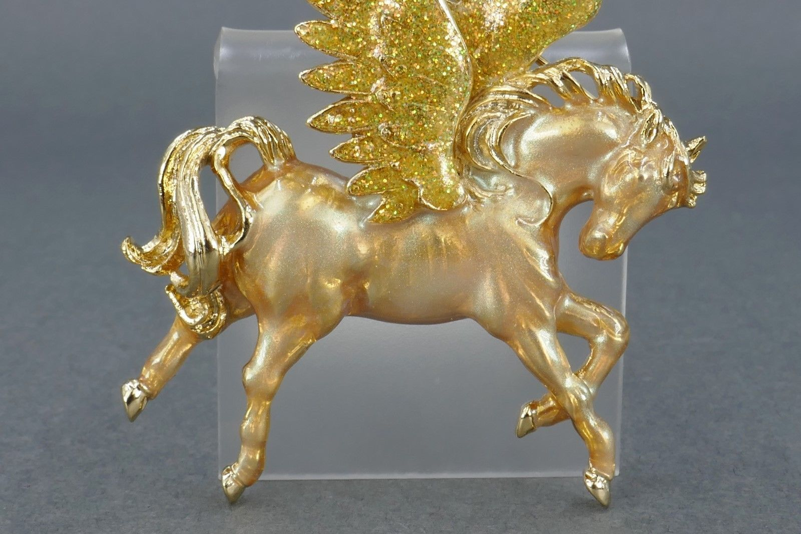 "KIRKS FOLLY ""Pegasus"" Enamel Gold-tone Winged Horse BROOCH Pin - 2 3/4 inches"