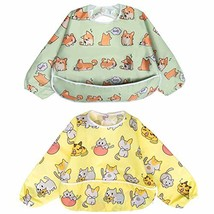 Long Sleeved Bib Waterproof Bibs for Babies and Toddlers with Pocket 6-24 Months